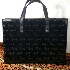 Harrods of London Logo Embossed Black Tote 13×9.5